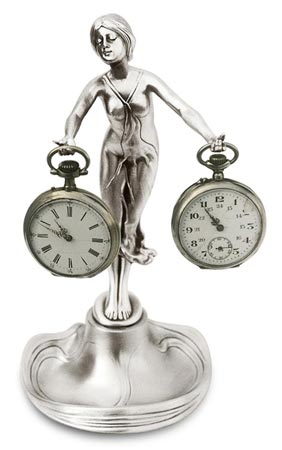 Pocket watch stand - lady with outstreched arms, grey, Pewter / Britannia Metal, cm 21