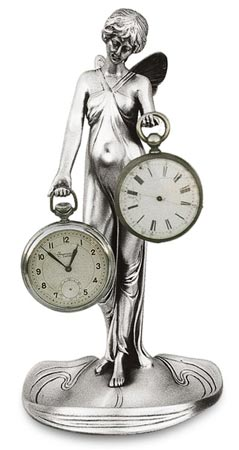 Pocket watch stand - lady with wings cm 21.5 (Pewter / Britannia Metal) - collection: Donna. Cosi Tabellini.