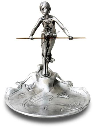 Ring holder tray- lady with bar cm 18,5x17,5x20,5 (Pewter / Britannia Metal) - collection: Donna. Cosi Tabellini.
