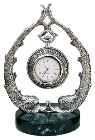 Pocket watch stand cm h 18.5 (Pewter / Britannia Metal) - collection: Pesce. Cosi Tabellini.