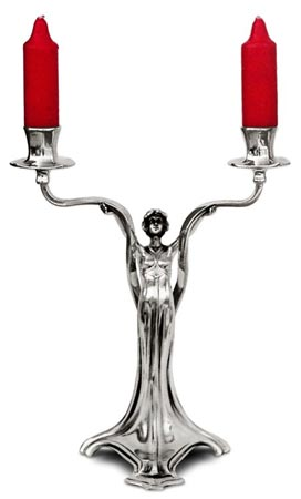 Double-flames candelabra - lady cm 22x h 30,5 (Pewter / Britannia Metal) - collection: Donna. Cosi Tabellini.