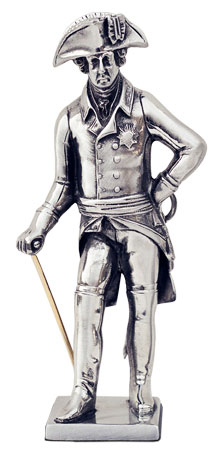 Frederick the Great with sword and rod figurine cm h 14,5 (Pewter / Britannia Metal) - collection: Alte fritz. Cosi Tabellini.