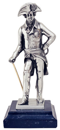 Frederick the Great on marble base cm h 17 (Pewter / Britannia Metal) - collection: Alte fritz. Cosi Tabellini.