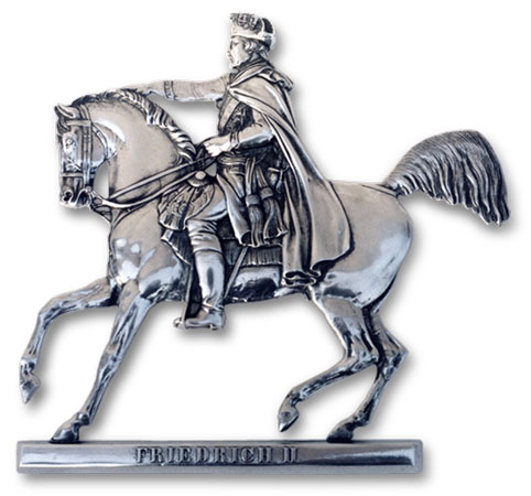 Frederick the Great on horseback cm 22x22 (Pewter / Britannia Metal) - collection: Alte fritz. Cosi Tabellini.