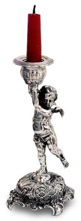 Candlestick - angel cm h 18,5 (Pewter / Britannia Metal) - collection: Putto. Cosi Tabellini.