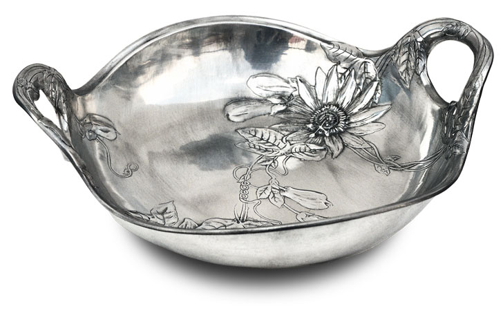 Bowl with handle - flowers cm 34x29 (Pewter / Britannia Metal) - collection: Fiori. Cosi Tabellini.