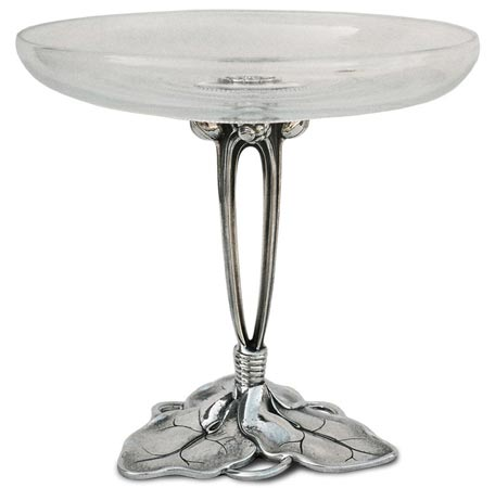 Fruit stand - water lily cm Ø 25,5 h 23 (Pewter / Britannia Metal, Glass) - collection: Ninfea. Cosi Tabellini.