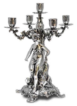 Five-flames candelabra - woman cm h 37 right (Pewter / Britannia Metal) - collection: Donna. Cosi Tabellini.