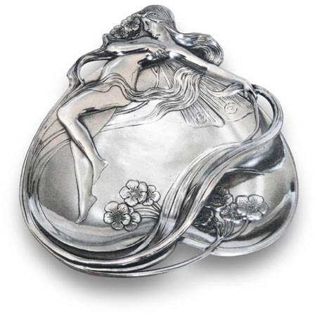 Jewellery holder tray - fairy among buttercups cm 22x27 (Pewter / Britannia Metal) - collection: Ninfa. Cosi Tabellini.
