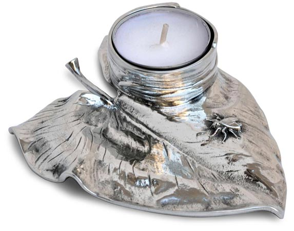 Candle holder - fly on waterlily cm 13x9,5x h 2,5 (Pewter / Britannia Metal) - collection: Ninfea. Cosi Tabellini.