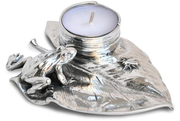 Candle holder -  frog and fly on waterlily cm 13x9,5x h 2,5 (Pewter / Britannia Metal) - collection: Rana. Cosi Tabellini.