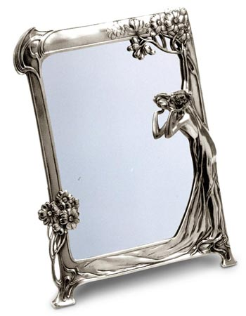 Vanity mirror - lady 131 cm 36.5 x 27 (Pewter / Britannia Metal, Glass) - collection: Donna. Cosi Tabellini.