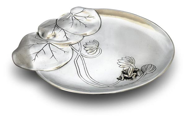 Small tray - water lily and frog cm 26 x 21 (Pewter / Britannia Metal) - collection: Ninfea. Cosi Tabellini.
