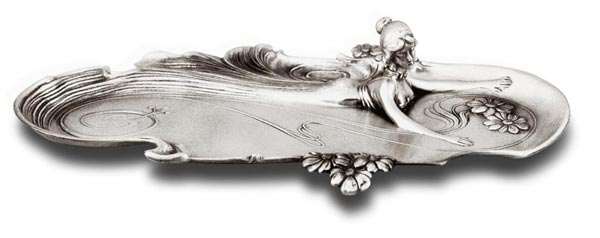 Pen tray with lady cm 37x21 (Pewter / Britannia Metal) - collection: Ninfa. Cosi Tabellini.