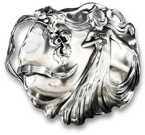 Table centerpiece - lady and iris cm 32 x 28,5 (Pewter / Britannia Metal) - collection: Donna. Cosi Tabellini.