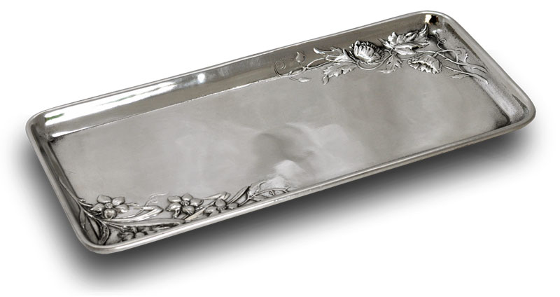 Rectangular tray with flowers cm 27x12 (Pewter / Britannia Metal) - collection: Fiori. Cosi Tabellini.
