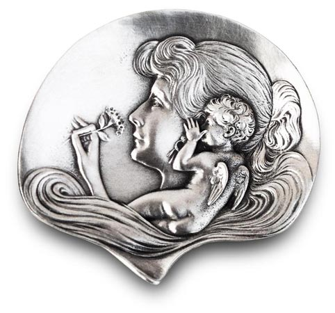 Jewelry holder tray - lady with child cm 10,5 (Pewter / Britannia Metal) - collection: Putto. Cosi Tabellini.