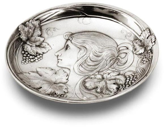 Bowl - lady and grapes cm 17 (Pewter / Britannia Metal) - collection: Vino. Cosi Tabellini.