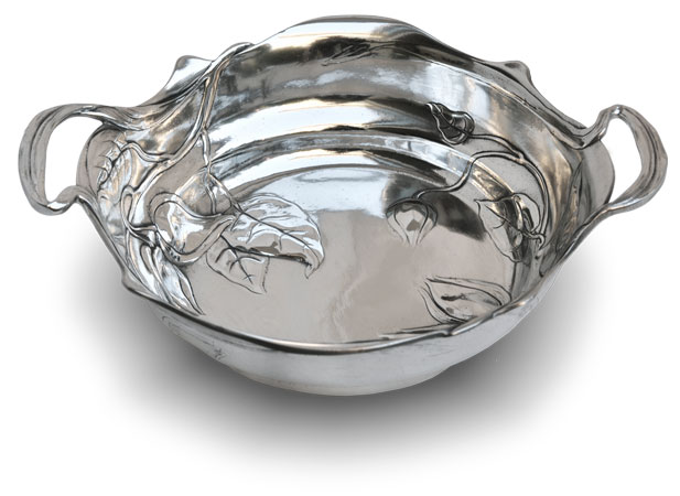 Oval bowl with handles - buds cm 28 x 23,5 (Pewter / Britannia Metal) - collection: Fiori. Cosi Tabellini.