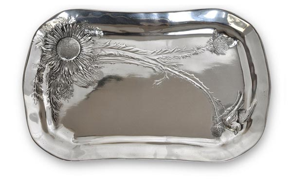Tray - thistle cm 45 x 29 (Pewter / Britannia Metal) - collection: Cardo. Cosi Tabellini.