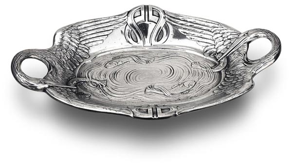 Oval bowl -  pelicans and fishes cm 37 x 22 (Pewter / Britannia Metal) - collection: Pesce. Cosi Tabellini.