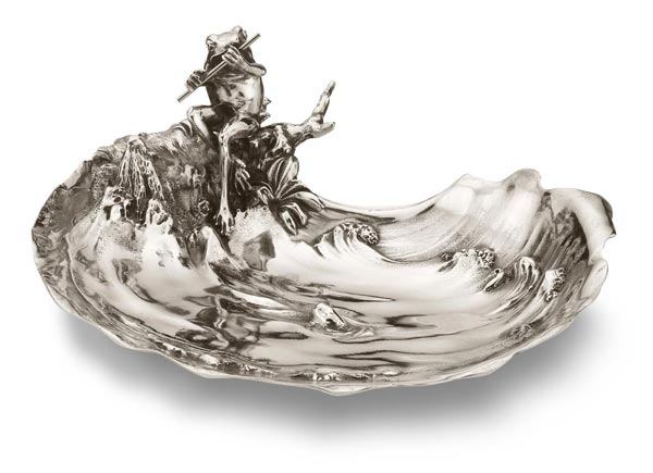Jewelry holder bowl - tree frog playing the flute in the pond cm 21,5 x 18 x h 9 (Pewter / Britannia Metal) - collection: Rana. Cosi Tabellini.