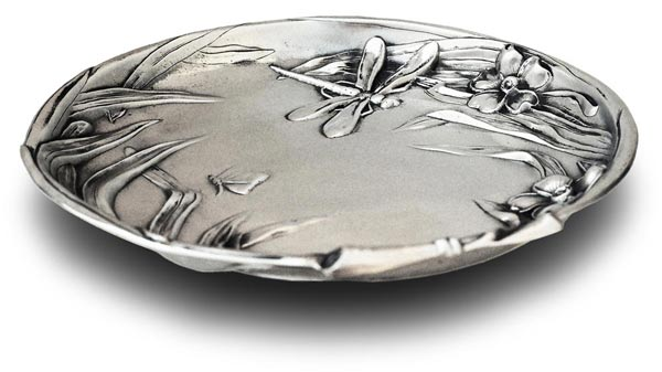 Little tray - dragonfly on garden pond cm 25,5 (Pewter / Britannia Metal) - collection: Ninfea. Cosi Tabellini.