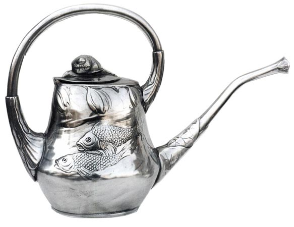 Tea-pot - fish and snail cm 14 x 30 x h 20,5 (Pewter / Britannia Metal) - collection: Pesce. Cosi Tabellini.
