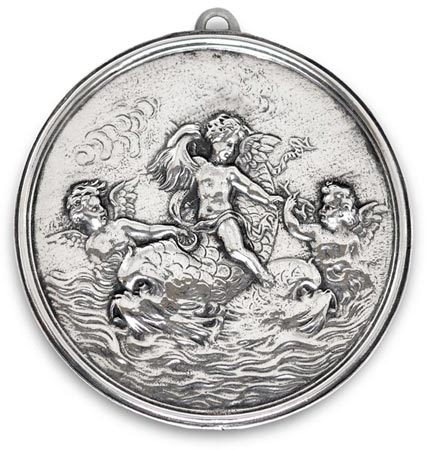 Medallion - cherubs and dolphins cm 10,5 (Pewter / Britannia Metal) - collection: Putto. Cosi Tabellini.