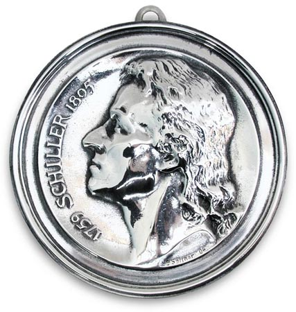 Medallion - Friedrich von Schiller cm 10,5 (Pewter / Britannia Metal) - collection: Schiller. Cosi Tabellini.