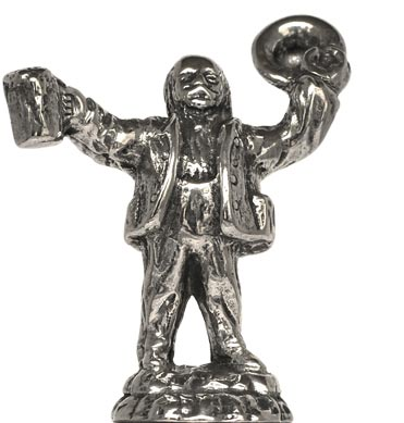 Man making a toast cm h 4,5 (Pewter / Britannia Metal) - collection: München. Cosi Tabellini.