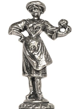 Statuette - lady with flowers cm h 5,7 (Pewter / Britannia Metal) - collection: Fiori. Cosi Tabellini.
