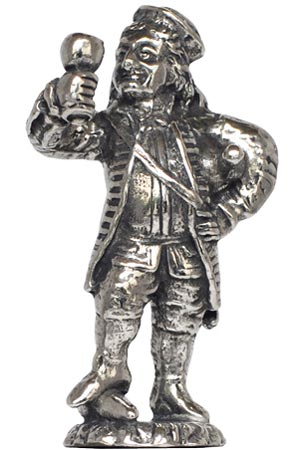Heidelberg man with flagon figurine cm h 5,3 (Pewter / Britannia Metal) - collection: Perkeo. Cosi Tabellini.