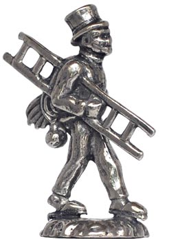 Chimney sweep figurine cm h 4 (Pewter / Britannia Metal) - collection: Arts and crafts. Cosi Tabellini.