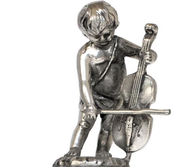 Cherub w/viola cm h 4,5 (Pewter / Britannia Metal) - collection: Putto. Cosi Tabellini.