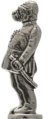 Police dog statuette cm h 6 (Pewter / Britannia Metal) - collection: Relief. Cosi Tabellini.
