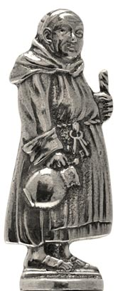 Friar with pitcher figurine cm h 6,1 (Pewter / Britannia Metal) - collection: Relief. Cosi Tabellini.