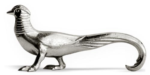 Cutlery/chopstick rest - pheasant cm 9 x h 4 (Pewter / Britannia Metal) - collection: Fagiano. Cosi Tabellini.