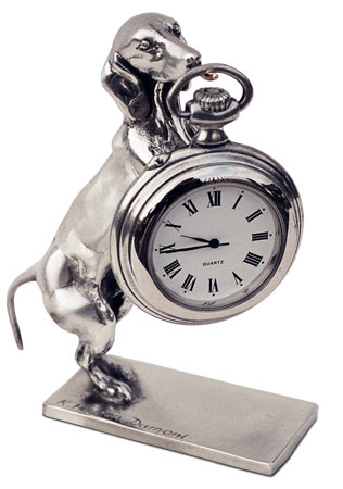 Pocket watch stand cm h 10 (Pewter / Britannia Metal) - collection: Cane. Cosi Tabellini.