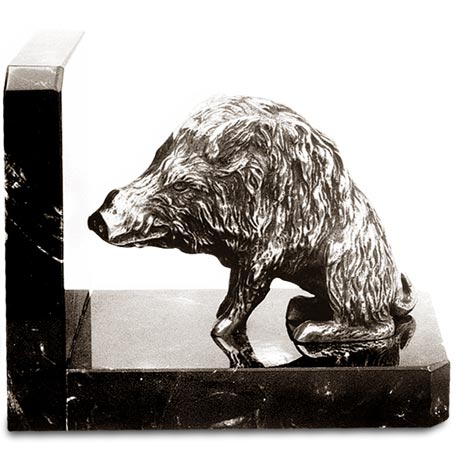 Bookend - boar cm 14,5 x 8 x 11,5 (Pewter / Britannia Metal, Marble) - collection: Cinghiale. Cosi Tabellini.