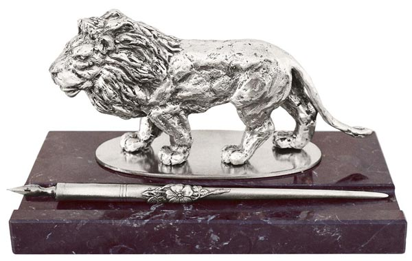 Pen holder - lion cm 19x10,5x10, (Pewter / Britannia Metal) - collection: Leone. Cosi Tabellini.