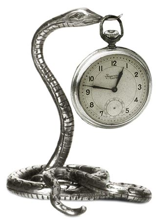Pocket watch stand - snake cm 10 x h 9 (Pewter / Britannia Metal) - collection: Serpente. Cosi Tabellini.