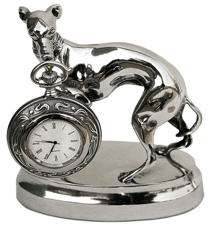 Pocket watch stand w/greyhound cm 14x7x h 15,5 (Pewter / Britannia Metal) - collection: Cane. Cosi Tabellini.