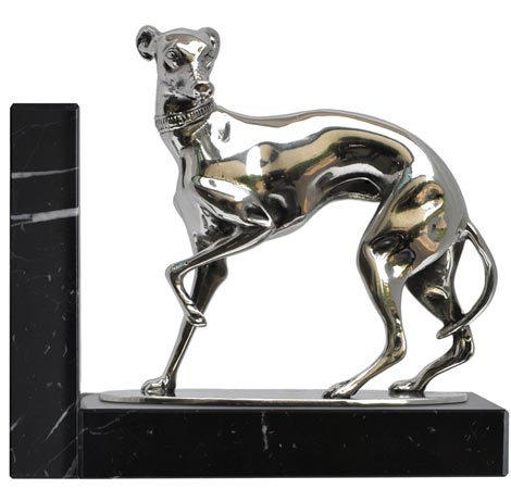 Bookend - greyhound cm 14,5x8x14 (Pewter / Britannia Metal, Marble) - collection: Cane. Cosi Tabellini.