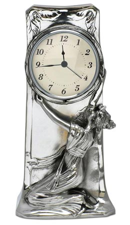 Table Clock cm h 27 (Pewter / Britannia Metal) - collection: Donna. Cosi Tabellini.