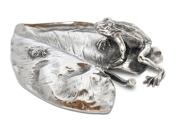 Frog and fly on waterlily cm 13x9,5 (Pewter / Britannia Metal) - collection: Rana. Cosi Tabellini.