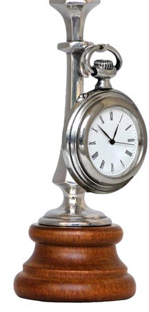 Pocket watch stand, grey and brown, Pewter / Britannia Metal and Wood, cm h 13