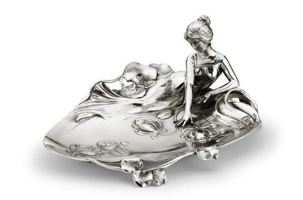 Jewellery holder tray - lady and waterlily - 229, grey, Pewter / Britannia Metal, cm 26 x 19 x h 11