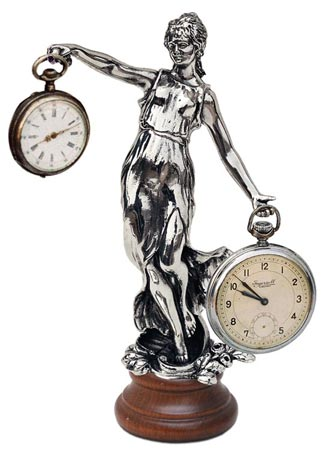 Pocket watch stand - lady cm 9x19 (Pewter / Britannia Metal, Wood) - collection: Donna. Cosi Tabellini.