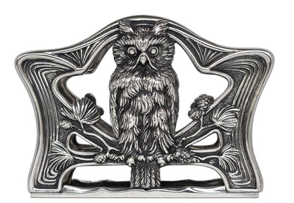 Paper holder - owl cm 16 x 11 (Pewter / Britannia Metal) - collection: Gufo. Cosi Tabellini.